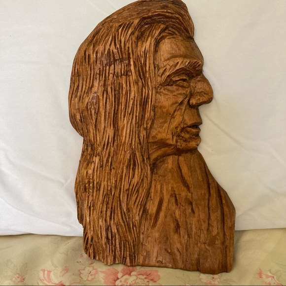 American Indian Man Profile Carving Hand Crafted